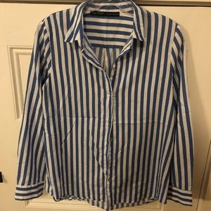 Zara white blue stripe shirt